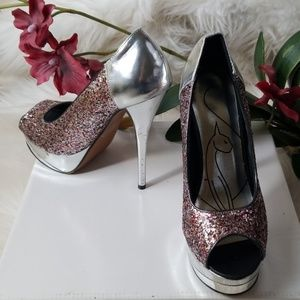 Baby Phat Silver Sparkle Platform Shoes Size 7M